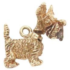Vintage 14K Gold Charm Scottish Terrier 3D movable head