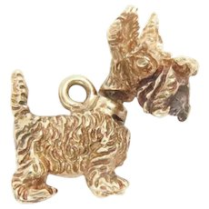 14K Yellow Gold Charm Scottish Terrier 3D articulated movable head