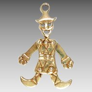 Vintage Charm 14Kt Gold Clown Articulated 3 D Harlequin