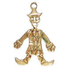 Vintage Charm 14Kt Gold Clown Articulated 3 D Harlequin