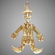 "Charm 14 Kt Yellow Gold Articulated Clown Harlequin 9/8"" L"