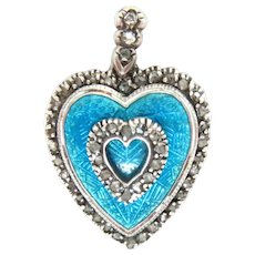 "Heart Shaped Pendant Antique Enameled  Rose cut Diamonds 1.25"""