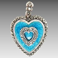 Antique Enameled Heart Shaped Pendant Rose cut Diamonds 1.25""