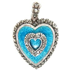 "Pendant Enameled Heart Rose cut Diamonds Silver and Gold 1.25"" Antique Victorian"