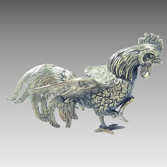 19th Century Table Figurine Rooster Cockerel Silver Plate
