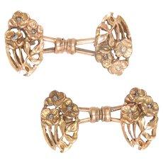 Art Nouveau Cufflinks 14Kt Rose Gold Diamonds 4 Leaves Clover