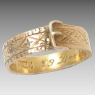 Antique Buckle Garter Ring 15 Kt Yellow Gold