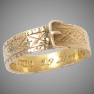 Buckle Garter Ring 15 Kt Yellow Gold Antique Size 5.75