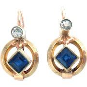 Vintage 14Kt Rose Gold Earrings Sapphires Diamonds