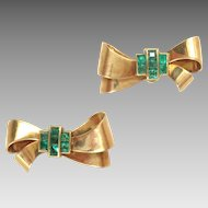 Vintage Earrings 14 Kt Rose Gold Bow Emeralds Screw Backs