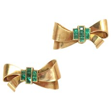 Earrings 14 Kt Rose Gold Bow Emeralds Screw Backs Vintage