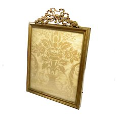 "Antique French Picture Frame Bronze Gilt Empire Style 6.5"" x 8.75"""