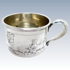 Antique Baby Cup Sterling Silver Meriden Britannia Children Book Characters