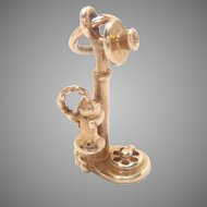 14 kt Gold Charm Old Fashion Candlestick Telephone  3 D Vintage