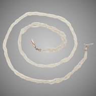 Antique Seed Pearl Necklace 14K Gold Clasp 3 strands