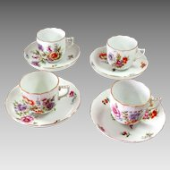 Antique Herend Porcelain Cup and Saucer Set of Four 1909