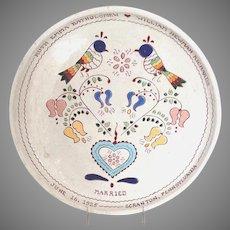 "Pennsylvania Dutch Readware 1925 Marriage Plate Buckhill Falls, PA 11.25"""
