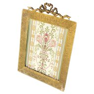 """Antique Picture Frame Gilt Bronze French Empire Style with Hearts 7.25"""" x 5.5"""""""
