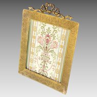 "Antique Picture Frame Gilt Bronze French Empire Style with Hearts 7.25"" x 5.5"""