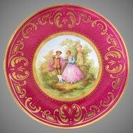 "KPM Berlin Plate Fragonard Painting in Center Late 19th Century 10"""