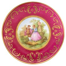 KPM Berlin Plate Fragonard Painting in Center Late 19th Century 10""