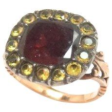 Ring 15 Kt  Rose Gold Garnet Paste Early Georgian