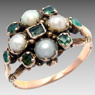 Georgian Ring 15 K Gold with Natural Pearls Emeralds Antique c. 1820