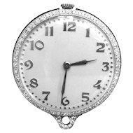 Pendant Pocket Watch Platinum Diamond 2 Ct Bigelow Kennard & Co. Vintage 1930s