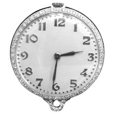 Pendant Pocket Watch Platinum Diamond 2 Ct Bigelow Kennard & Co. Vintage 1930s