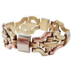 """Vintage Bracelet 14Kt Gold Three Color Retro 7.75"""" L."""