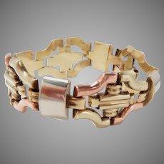 "Bracelet 14 Kt Gold 1940s Tri Color Retro 7.75"" L. Vintage"