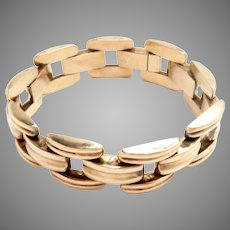 "Vintage Bracelet 14 Kt Yellow Gold 1940s Retro 7"" L"