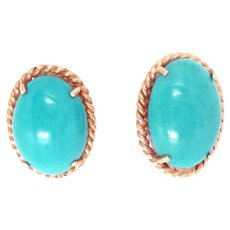 14 Kt Yellow Gold Earrings Turquoise Vintage Clip and Post