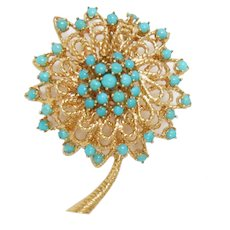 Pin Brooch 18 Kt Gold Vintage Retro Modern 1960s Turquoise