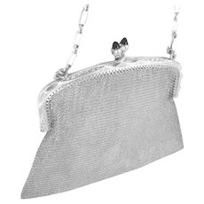 Vintage Art Deco Silver Mesh Bag Purse Chased Frame Blue Stone Clasp