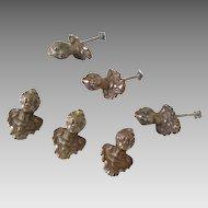6 Doorknobs Antique Bronze Figural Furniture Drawer Pulls
