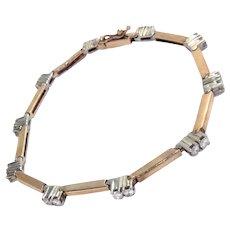 Vintage 14Kt Gold Tennis Bracelet Diamonds 0.80 Ct