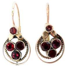 Vintage 14 Kt Rose Gold Earrings Garnets