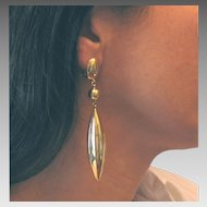 """Vintage 18Kt Yellow Gold Teardrop Earrings 3.75"""" Long"""