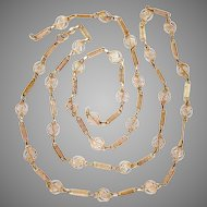 """Vintage 18K Yellow Gold Chain Necklace 43.5"""" Long"""
