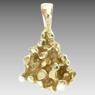 "Vintage 14K Gold Nugget Pendant Charm 3/4"" H"