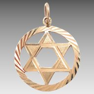 "Vintage 14K Gold Star of David Pendant Charm 3/4"" diameter"