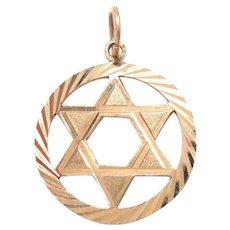 Gold star charm jewelry ruby lane vintage 14k gold star of david pendant charm 34 diameter aloadofball Images