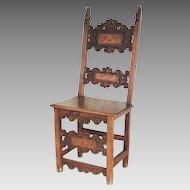 17th Century Italian Renaissance Side Chair Walnut Inlaid