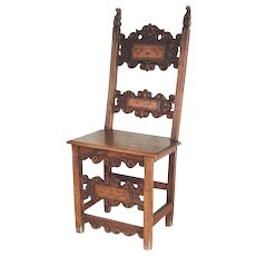 17th Century Italian Renaissance Side Chair Walnut Inlaid