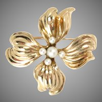 14 Kt Rose Gold Floral Pin with Cultured Pearls Vintage