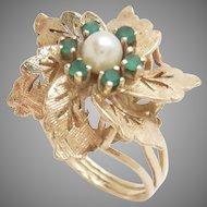 Vintage 14k Yellow Gold 1960s Cocktail Ring Pinwheel Pearl Green Onyx