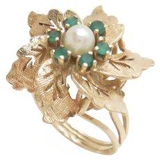 14k Yellow Gold Cocktail Ring Pinwheel Pearl Green Onyx Vintage Mid-Century