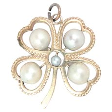 14K Yellow Gold 4 Leave Clover Lucky Charm Pendant Pearl Vintage