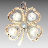14K Yellow Gold Clover Pendant Pearl Vintage